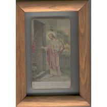 Cuadro Con Estampa Antigua De Jesús Junto A Un Rosal. 1913