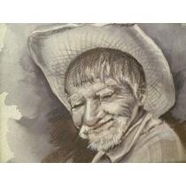 Retrato A Lápiz Y Acuarela (autor Anónimo) - ¡envío Gratis!