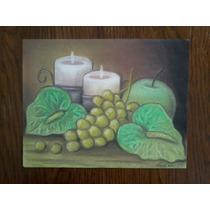 Bodegón Manzana Verde. Pintura Original. Gis Pastel.