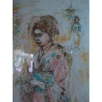 Precioso Cuadro Oriental Mujer Asiatica Y Paisaje Vintage