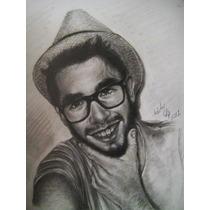 Retrato A Lápiz, Carbón, Dibujo Profesional, México, Arte
