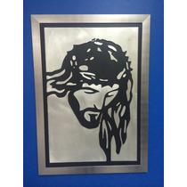 Cristo En Aluminio Y Piel