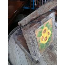 Antigua Prensa Para Tortillas De Mesquite, Con Óleo Flores