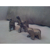 Familia De Elefantitos En Bronce