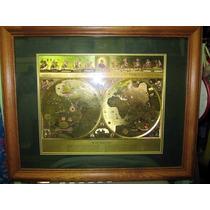 Antiguo ,blaeu Wall Map Con Marco En Papel Oro Elegante