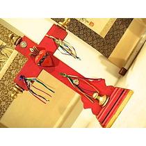 Cruz De Madera Con Sagrado Corazón, Listones Y Milagros Roja