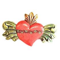 Sagrado Corazón Con Alas De Angel (verde Azulado)