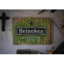 Heineken Letrero Rustico De Cerveza