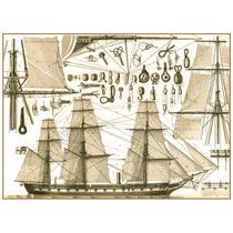 Cuadro En Tela Barco De Guerra 1830 50 X 70 Cm