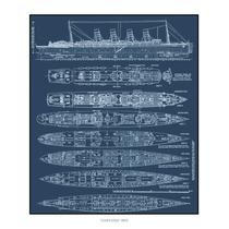 Lienzo Blueprint Trasatlántico Lusitania 1907 Grabado Inglés