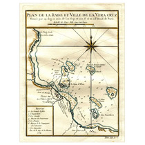 Mapa Villa De La Vera Cruz Grabado Francés 1754