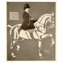 Poster Alemán Mujer A Caballo 1913, Anuncio Publicitario