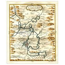 Mapa Villa De México Y Alrededores Grabado Francés 1754 Raro