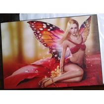Cuadro Decorativo Mujer Mariposa En Poli - Oleo 28 X 40 Bvf
