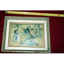 Antigúo Cuadro Infantil. Vintage Con Más De 50 Años