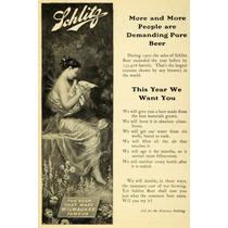 Cuadro Publicidad Cerveza Schliitz 1903 80 X 50 Cm Tela