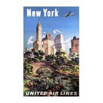 Cuadro En Tela Poster United Air Lines New York 80 X 50 Cm