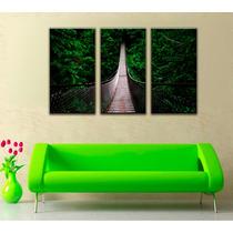 Imagen Puente Bosque Naturaleza Canvas 3 Pzas 45 X 85 Cm C/u