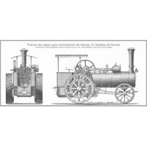 Cuadro En Tela Grabado Tractor Agrícola 8 Hp 1890 41 X 90 Cm