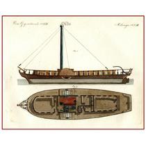 Cuadro Bote De Rio De Paletas Ingleterra 1860 50 X 64 Cm