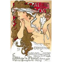 Cuadro Tela Art Deco Anuncio Salon Des Cent Mucha 1896
