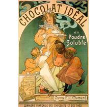 Cuadro Tela Art Deco Anuncio Chocolate Ideal Mucha 1899
