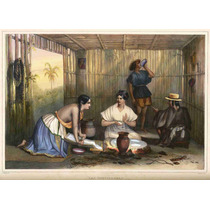 Cuadro Tela Grabado Las Tortilleras México 1845 Carl Nebel