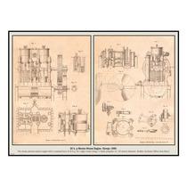 Cuadro En Tela Motor De Vapor Marino Europa 1880