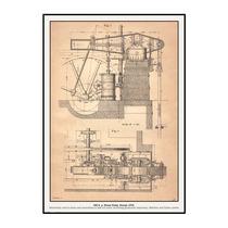 Cuadro En Tela Bomba Industrial De Vapor 300 Hp 1870