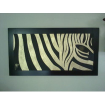 Cuadro Zebra Modernista Hecho En Hoja De Oro Con Marco .