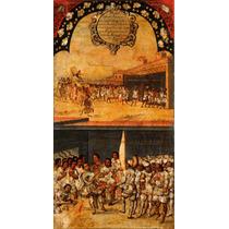 Cuadro Tela Tabla 15 De 22 Conquista Imperio Azteca 90 X 50