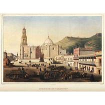 Lienzo Tela Grabado Nebel Zacatecas México 1836 50 X 67 Cm