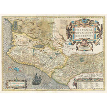 Lienzo Tela Mapa Costa Oeste México 1606 50 X 68 Cm Cuadro