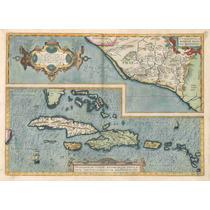 Lienzo Tela Mapa México Mar Caribe Florida Cuba 1579 50x70cm