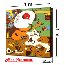 Lienzo En Cuadro Moderno. Joan Miró, 1 X 1 M.