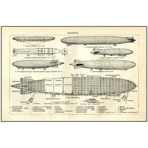 Lienzo Dibujo Dirigibles 1900-1930 Grabado Alemán 50 X 76 Cm