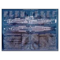 Lienzo Blueprint Submarino Alemán U-boat 1906 50x70 Cm Raro