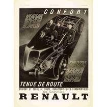 Lienzo Tela Cuadro Anuncio Automóvil Renault 1936 67 X 50 Cm