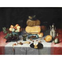 Lienzo Tela Bodegón Con Queso Floris Claesz Van Dyck 50x65cm