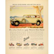 Lienzo En Tela Anuncio Automóvil Buick 1933 70 X 50 Cm