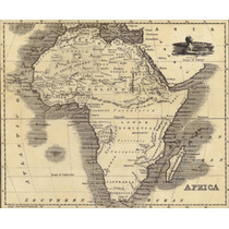 Lienzo, Tela Mapa Antigüo, Continente Africano 70 X 95 Cm