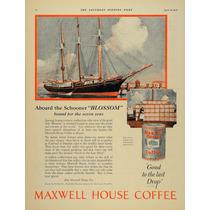 Lienzo Tela Poster Publicidad Cafe Maxwel House 1924 80 X 60