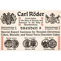 Lienzo En Tela Publicidad Carl Roder Panaderia 1904 50x70cm