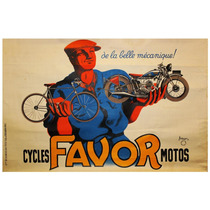 Lienzo Tela Favor Motocicletas Bicicletas Francia 50 X 77 Cm