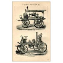 Lienzo En Tela Carros De Bomberos Alemania 1890 80 X 50 Cm.
