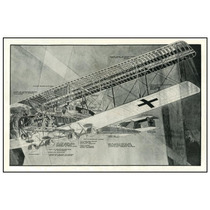 Diagrama Bombardero Alemán 1918 Zeppelin 50 X 75 Cm