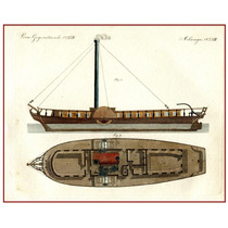 Lienzo Tela Bote De Rio De Paletas Inglaterra 1860 50 X 64cm