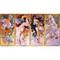 Lienzo Tela Art Deco Las Cuatro Estaciones Mucha 1895 50x90