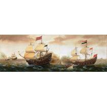 Lienzo Tela Encuentro Barcos De Guerra España Holanda 32x90