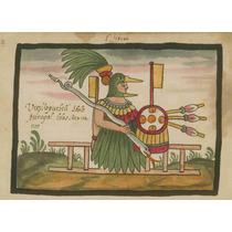 Lienzo Tela Códice Tovar Huitzilopochtli Dios Azteca 50x69cm